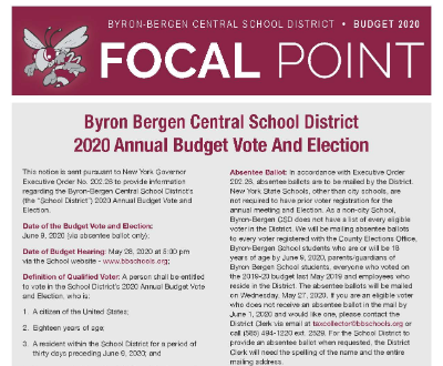 2020 Budget Focal Point available online