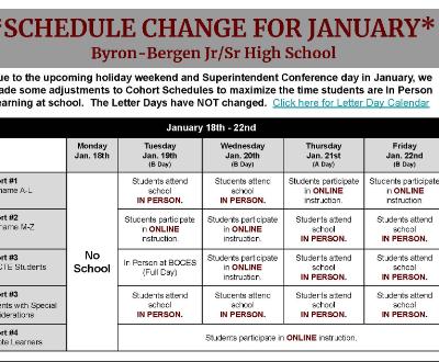 Jr./Sr. High School Schedule Change