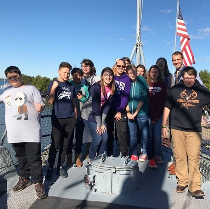 Eighth-graders on a field trip to the Buffalo Naval Park.