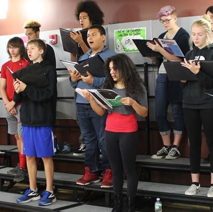 High school vocalists practicing.