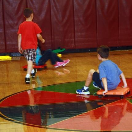 Children in the Elementary School gym.