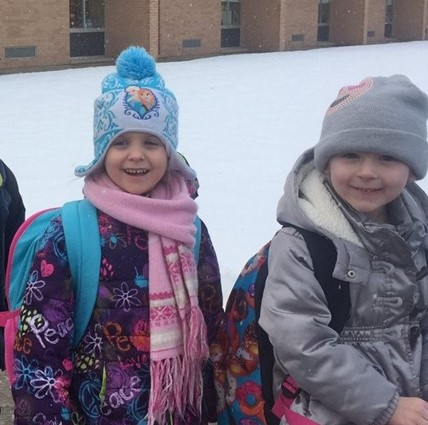 UPK kids standing in the snow.