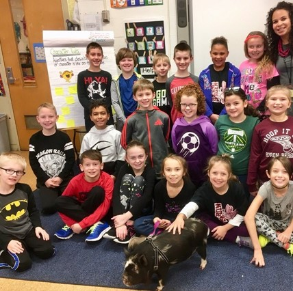 Mrs. Tardy's class welcomes a visiting pig.