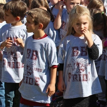 Group of Elementary School children wearing special BB Pride tshirts.