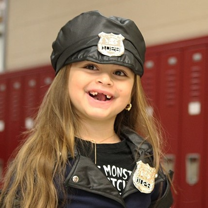 student dressed up for Halloween