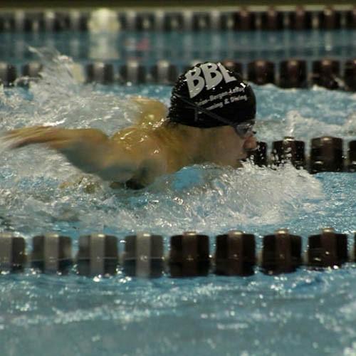 student on swim team