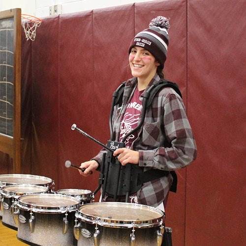 drummer at pep rally