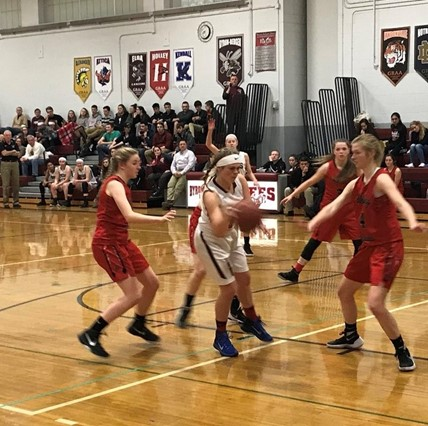 Girls basketball team on the court.