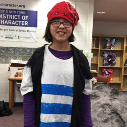 Student dressed like a pirate for a play.
