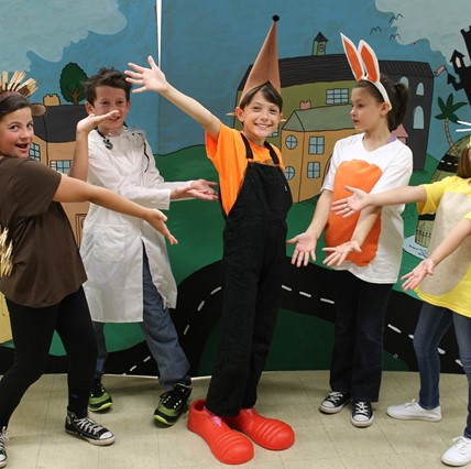 "Stars of fourth-grade production of ""Sneaky Weasel."""
