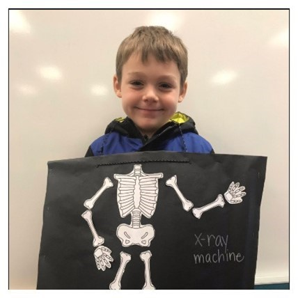 kindergartner with x-ray costume
